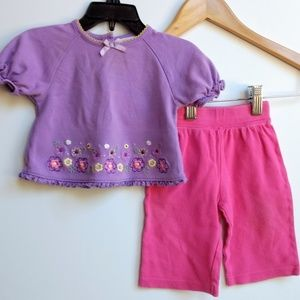 Outfit Size 6 Months Purple Top and Pink Bottoms